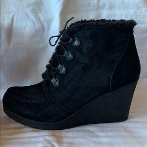 Black Wedge Booties - in Excellent Condition!